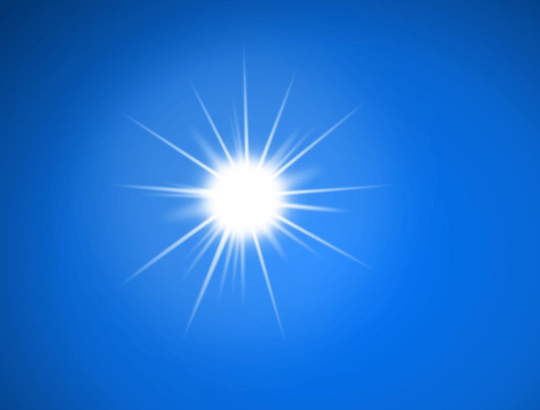słońce na niebieskim niebie