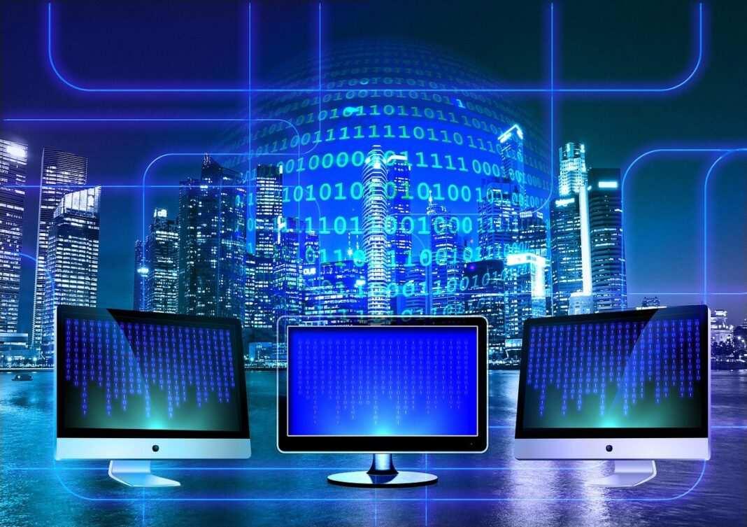 Kompuetry, monitory, miasto, promieniowanie elektromagnetyczne